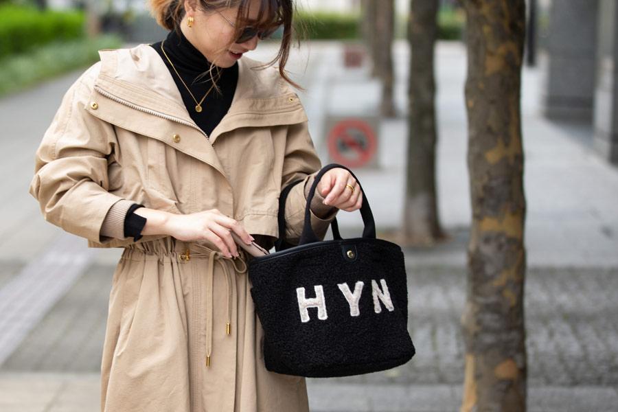 HYN ナンバー11 ボア 舟形トートバッグ【bearia S  ベアリア Sサイズ】 大きい A4 通勤通学 レディース